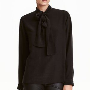 NWT -- H+M Premium Quality Silk Bow Blouse, Black